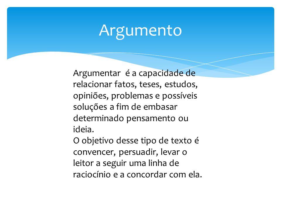 Argumento Argumentar é a capacidade de relacionar fatos, teses, estudos, opiniões, problemas e possíveis soluções a fim de embasar determinado pensame
