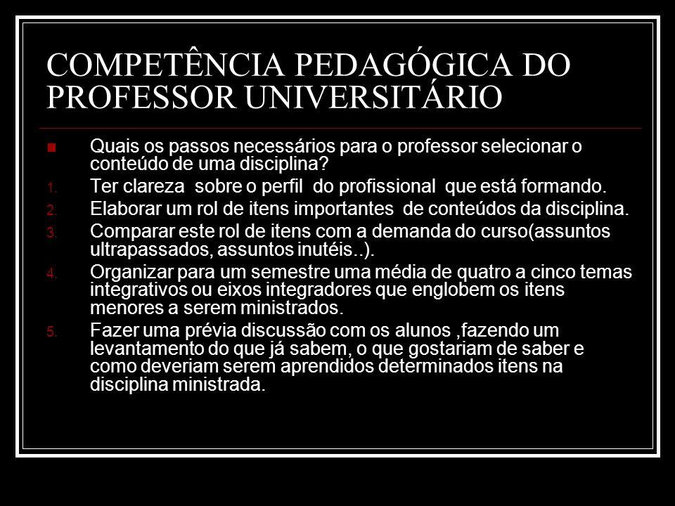 COMPETÊNCIA PEDAGÓGICA DO PROFESSOR UNIVERSITÁRIO Quais os passos necessários para o professor selecionar o conteúdo de uma disciplina.