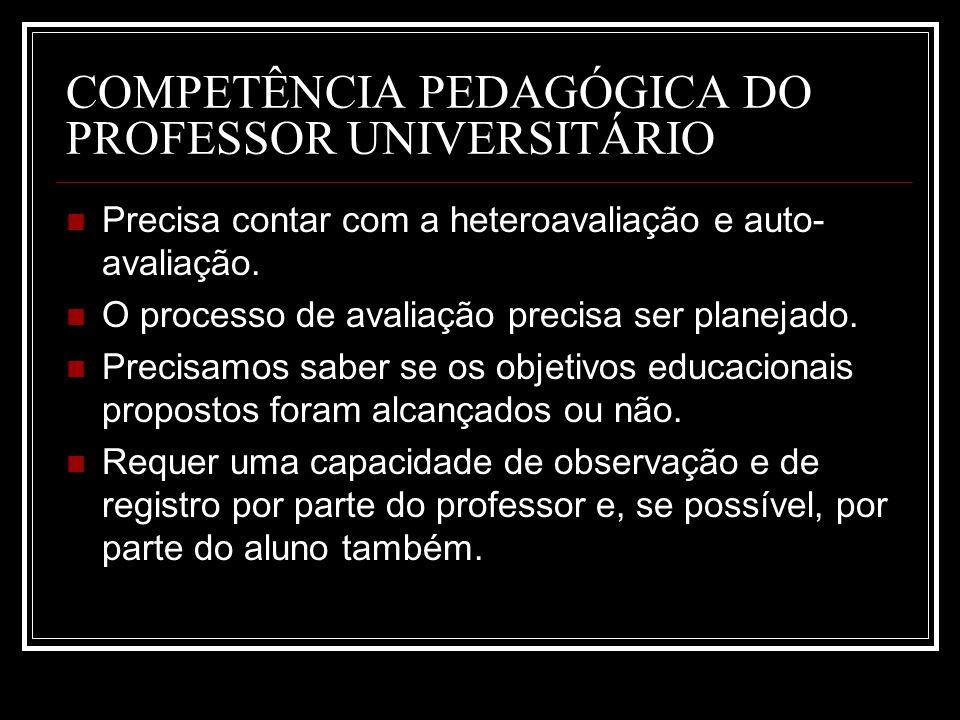 COMPETÊNCIA PEDAGÓGICA DO PROFESSOR UNIVERSITÁRIO Precisa contar com a heteroavaliação e auto- avaliação.