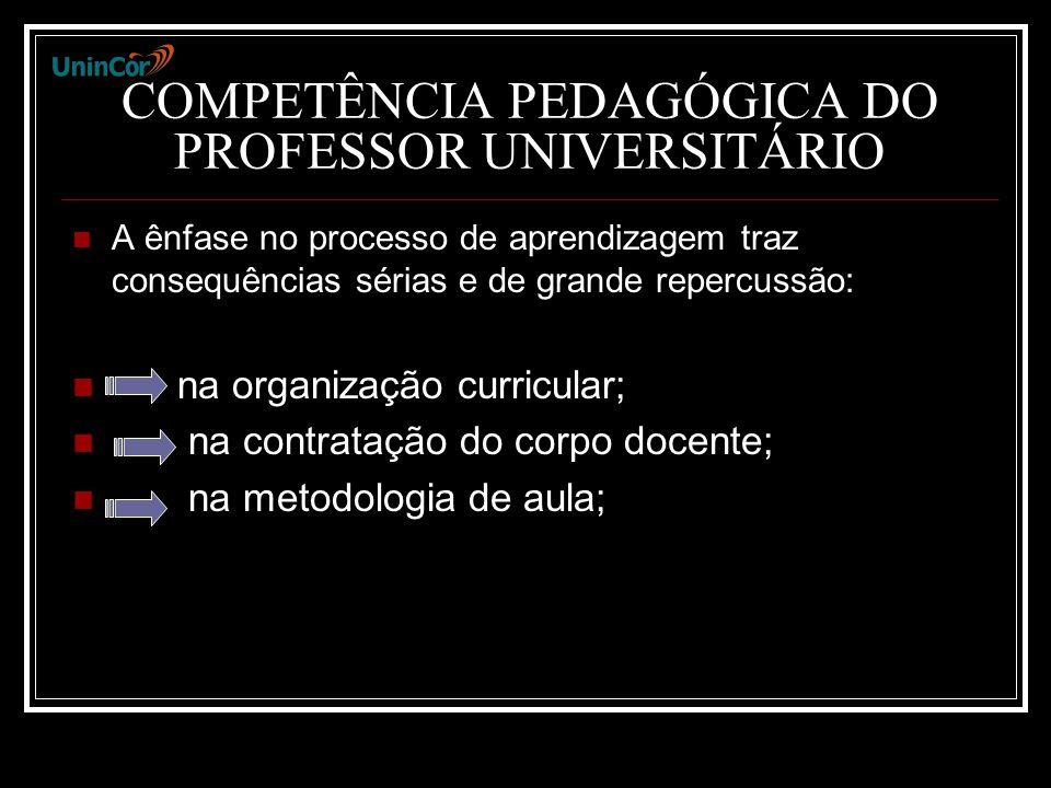 COMPETÊNCIA PEDAGÓGICA DO PROFESSOR UNIVERSITÁRIO A ênfase no processo de aprendizagem traz consequências sérias e de grande repercussão: na organização curricular; na contratação do corpo docente; na metodologia de aula;