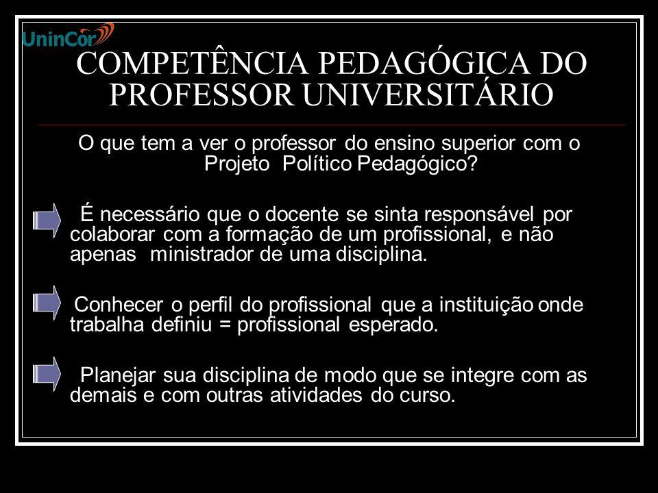 COMPETÊNCIA PEDAGÓGICA DO PROFESSOR UNIVERSITÁRIO O que tem a ver o professor do ensino superior com o Projeto Político Pedagógico.