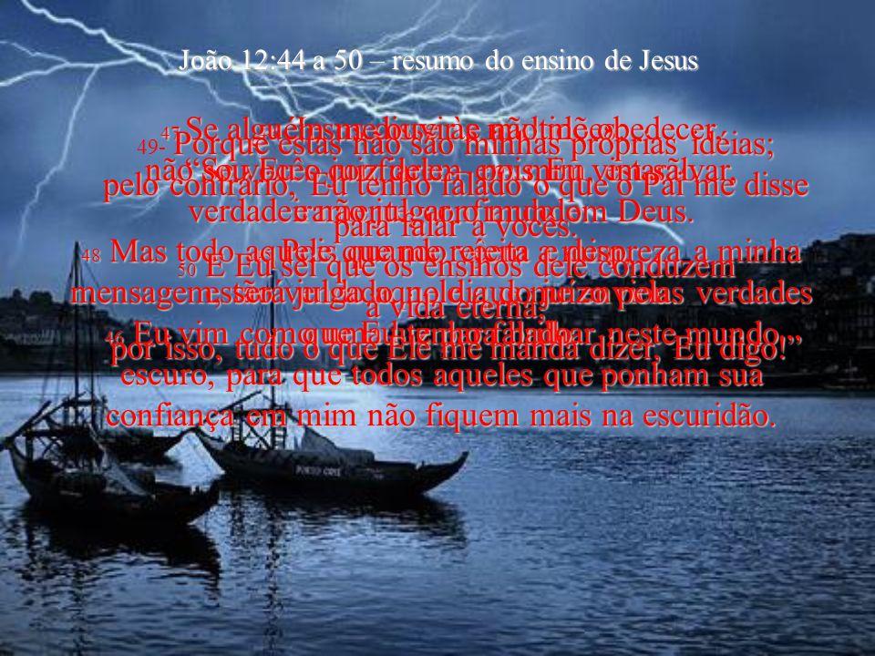 João 12:44 a 50 – resumo do ensino de Jesus 44- J JJ Jesus disse às multidões: Se vocês confiarem em mim, estarão verdadeiramente confiando em Deus.