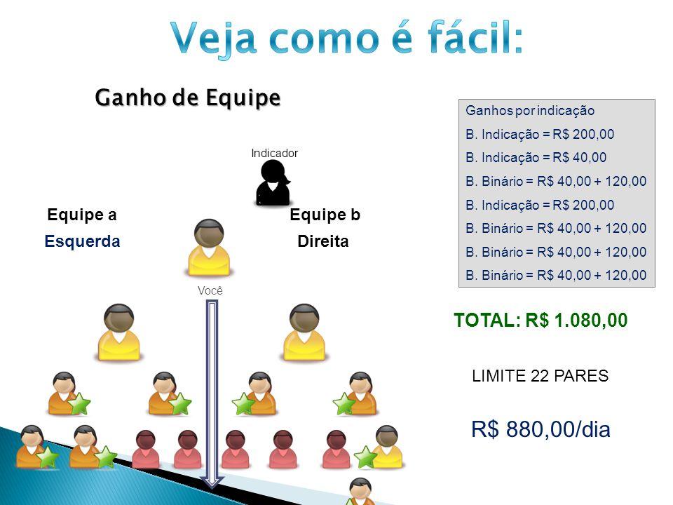 Ganho de Equipe Você Ganhos por indicação B. Indicação = R$ 200,00 B. Indicação = R$ 40,00 B. Binário = R$ 40,00 + 120,00 B. Indicação = R$ 200,00 B.