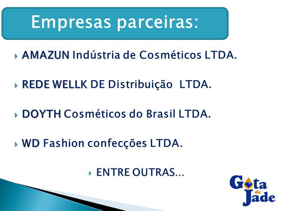  AMAZUN  AMAZUN Indústria de Cosméticos LTDA.  REDE WELLK  REDE WELLK DE Distribuição LTDA.  DOYTH  DOYTH Cosméticos do Brasil LTDA.  WD  WD F