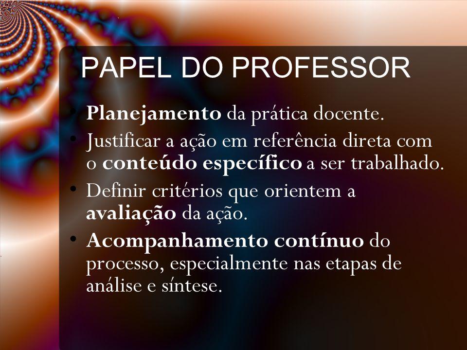 PAPEL DO PROFESSOR Planejamento da prática docente.