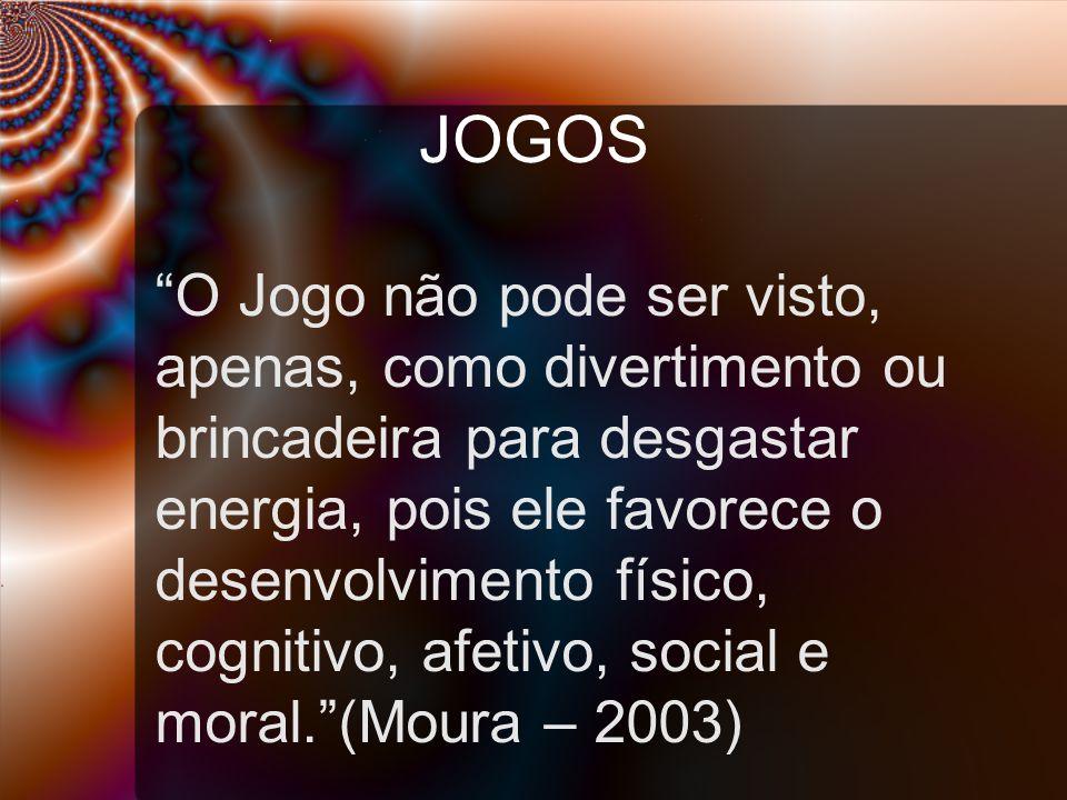 JOGOS O Jogo não pode ser visto, apenas, como divertimento ou brincadeira para desgastar energia, pois ele favorece o desenvolvimento físico, cognitivo, afetivo, social e moral. (Moura – 2003)