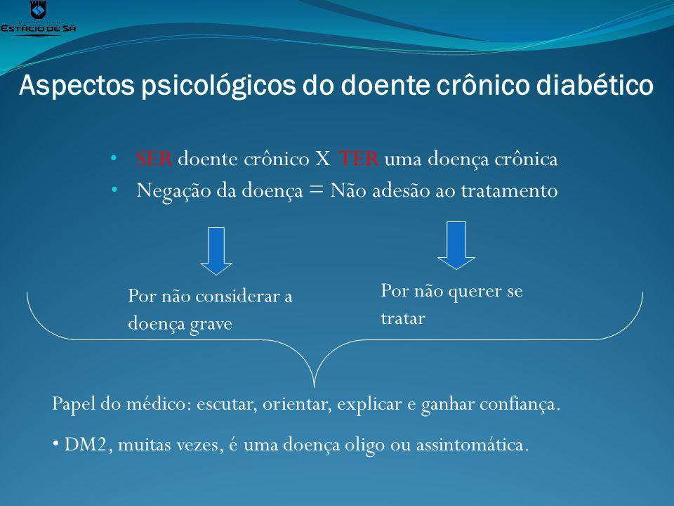 Aspectos psicológicos do doente crônico diabético SER doente crônico X TER uma doença crônica Negação da doença = Não adesão ao tratamento Por não con