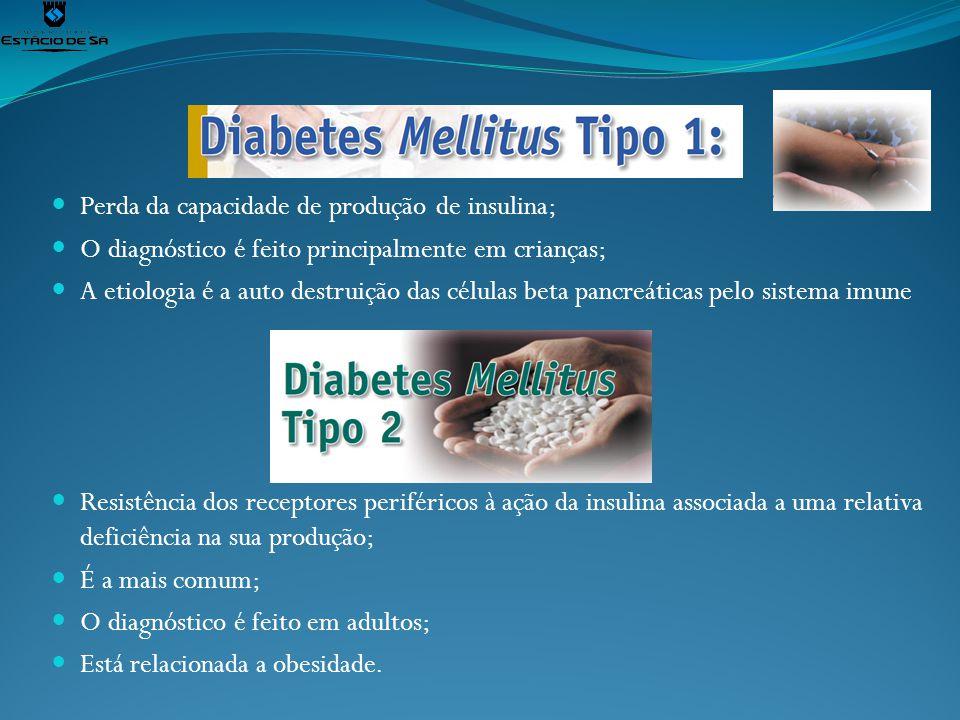 Perda da capacidade de produção de insulina; O diagnóstico é feito principalmente em crianças; A etiologia é a auto destruição das células beta pancre