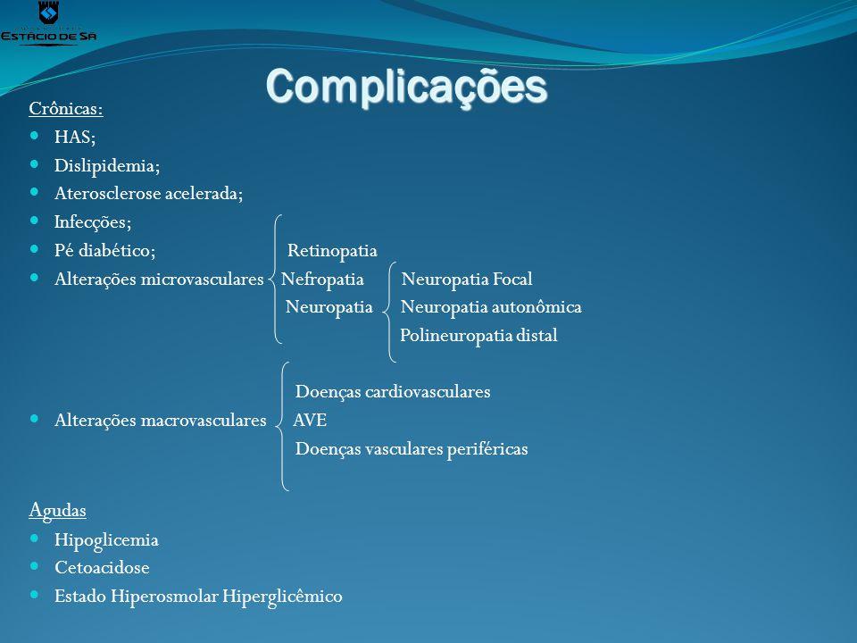 Complicações Crônicas: HAS; Dislipidemia; Aterosclerose acelerada; Infecções; Pé diabético; Retinopatia Alterações microvasculares Nefropatia Neuropat