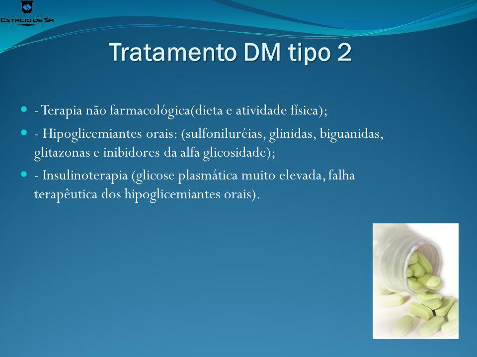 Tratamento DM tipo 2 - Terapia não farmacológica(dieta e atividade física); - Hipoglicemiantes orais: (sulfoniluréias, glinidas, biguanidas, glitazona