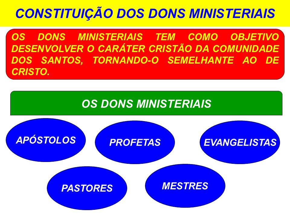 CONSTITUIÇÃO DOS DONS MINISTERIAIS APÓSTOLOS OS DONS MINISTERIAIS OS DONS MINISTERIAIS TEM COMO OBJETIVO DESENVOLVER O CARÁTER CRISTÃO DA COMUNIDADE DOS SANTOS, TORNANDO-O SEMELHANTE AO DE CRISTO.