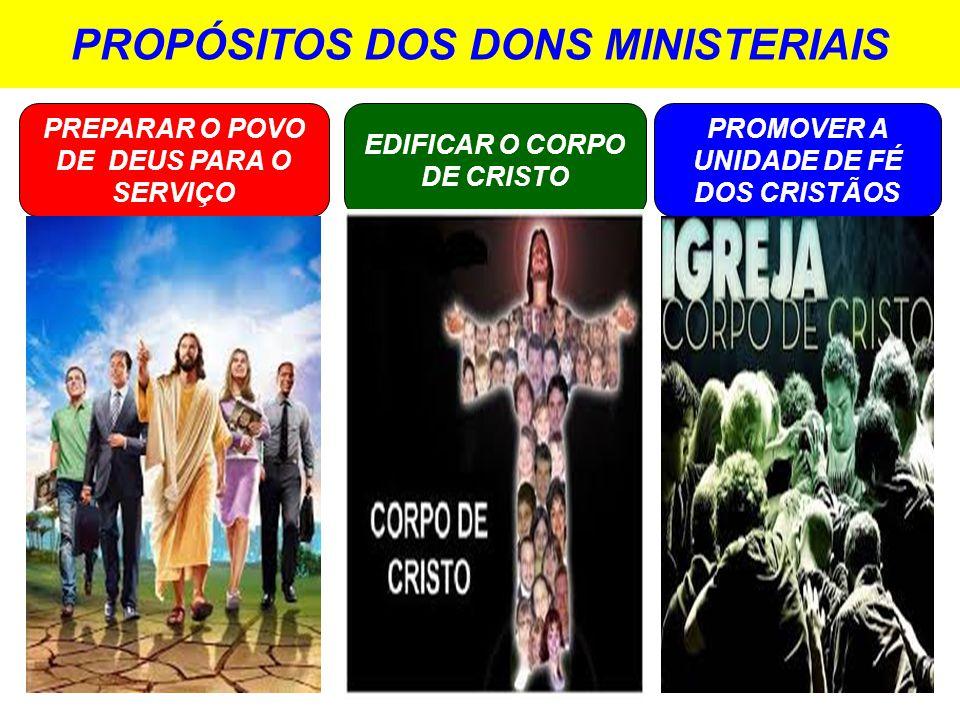 PROPÓSITOS DOS DONS MINISTERIAIS PREPARAR O POVO DE DEUS PARA O SERVIÇO EDIFICAR O CORPO DE CRISTO PROMOVER A UNIDADE DE FÉ DOS CRISTÃOS