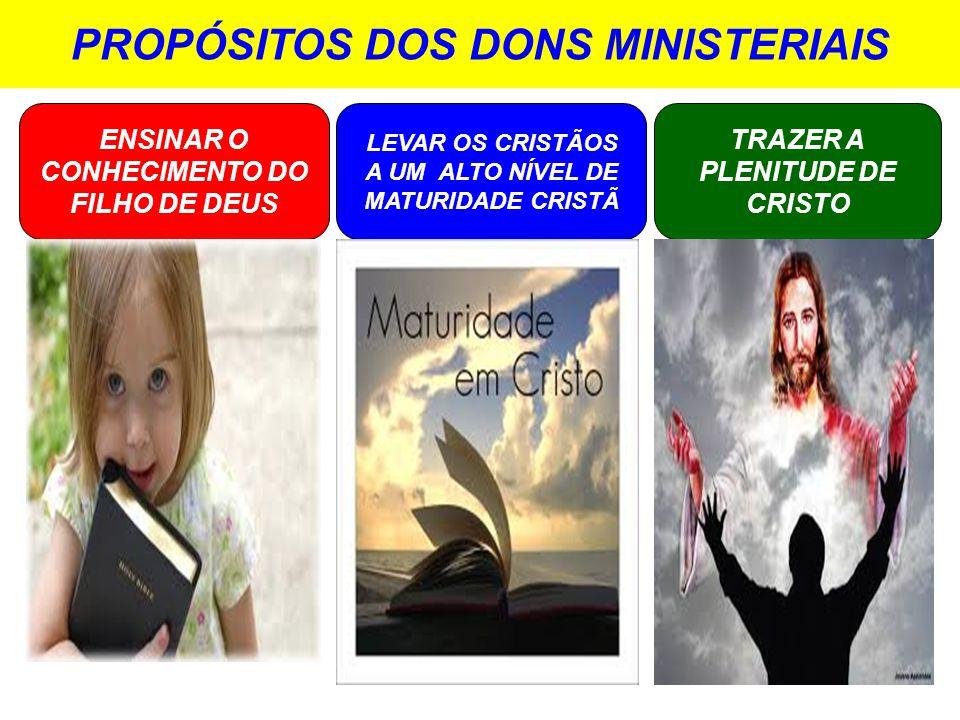 PROPÓSITOS DOS DONS MINISTERIAIS ENSINAR O CONHECIMENTO DO FILHO DE DEUS LEVAR OS CRISTÃOS A UM ALTO NÍVEL DE MATURIDADE CRISTÃ TRAZER A PLENITUDE DE CRISTO
