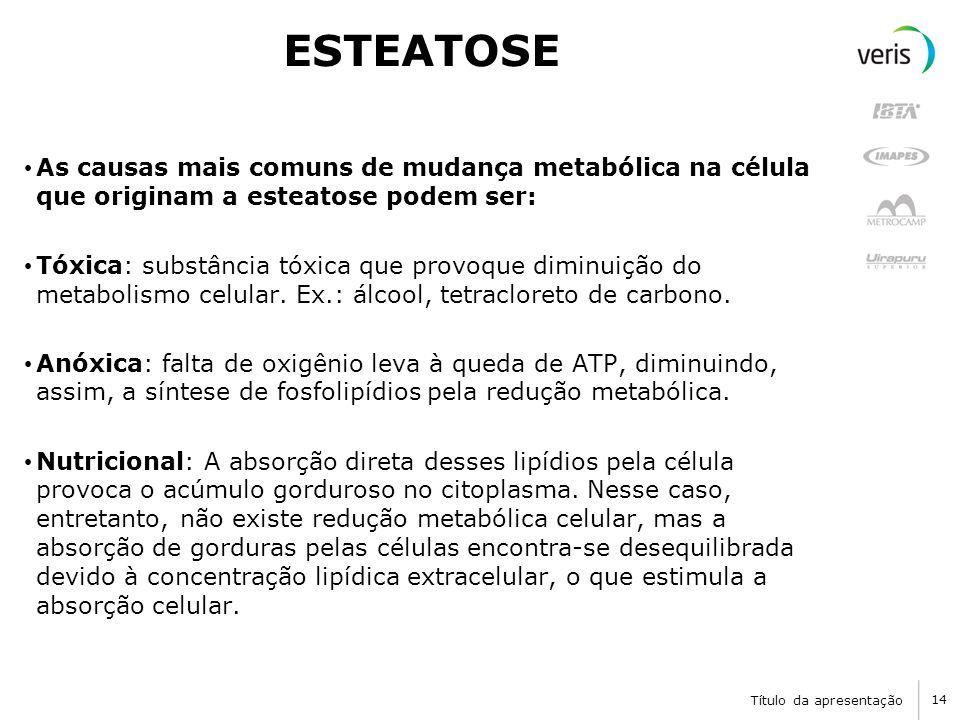 Título da apresentação 14 ESTEATOSE As causas mais comuns de mudança metabólica na célula que originam a esteatose podem ser: Tóxica: substância tóxica que provoque diminuição do metabolismo celular.