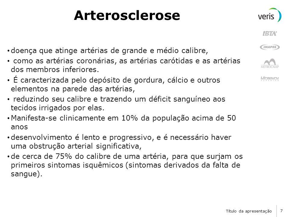 Título da apresentação 8 Aterosclerose A superfície interna irregular da artéria com aterosclerose predispõe à coagulação.
