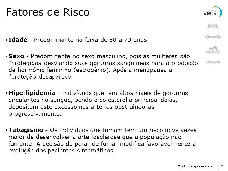 Título da apresentação 9 Fatores de Risco Idade - Predominante na faixa de 50 a 70 anos.