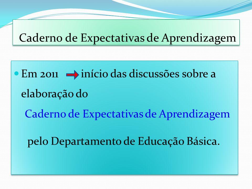 Caderno de Expectativas de Aprendizagem Em 2011 início das discussões sobre a elaboração do Caderno de Expectativas de Aprendizagem pelo Departamento