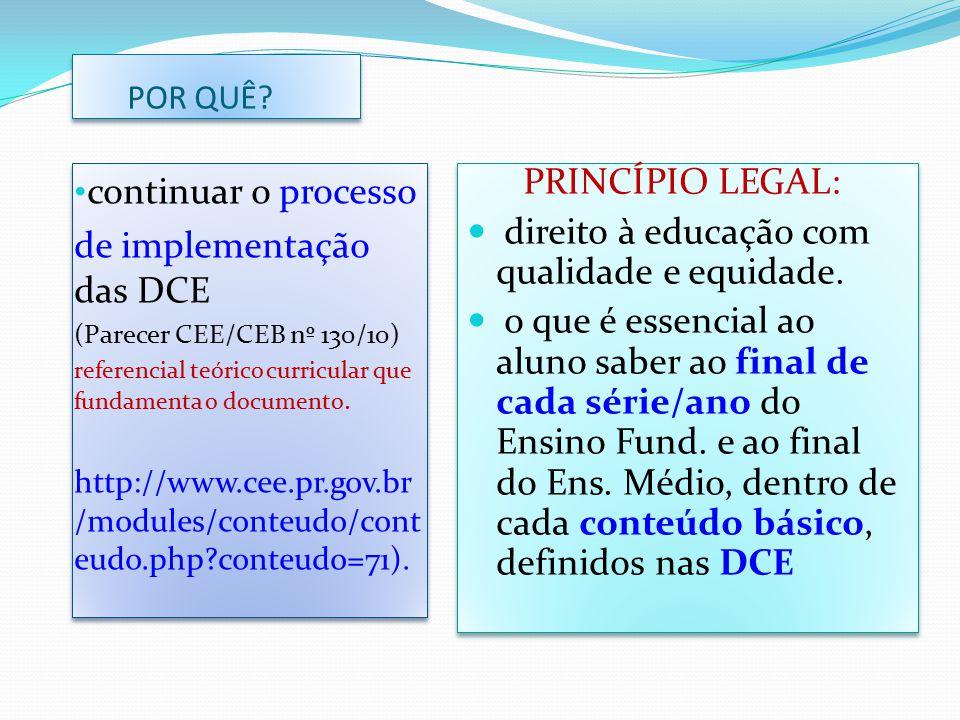 POR QUÊ? continuar o processo de implementação das DCE (Parecer CEE/CEB nº 130/10) referencial teórico curricular que fundamenta o documento. http://w