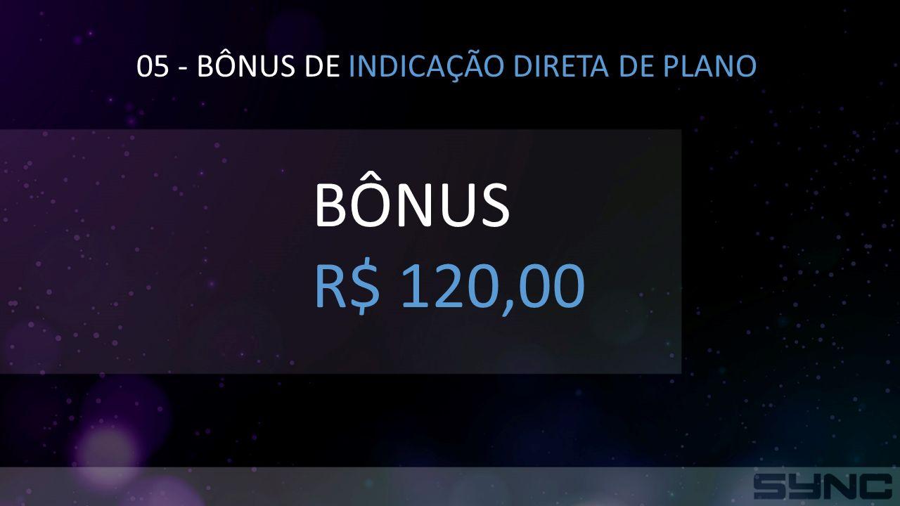 05 - BÔNUS DE INDICAÇÃO DIRETA DE PLANO BÔNUS R$ 120,00