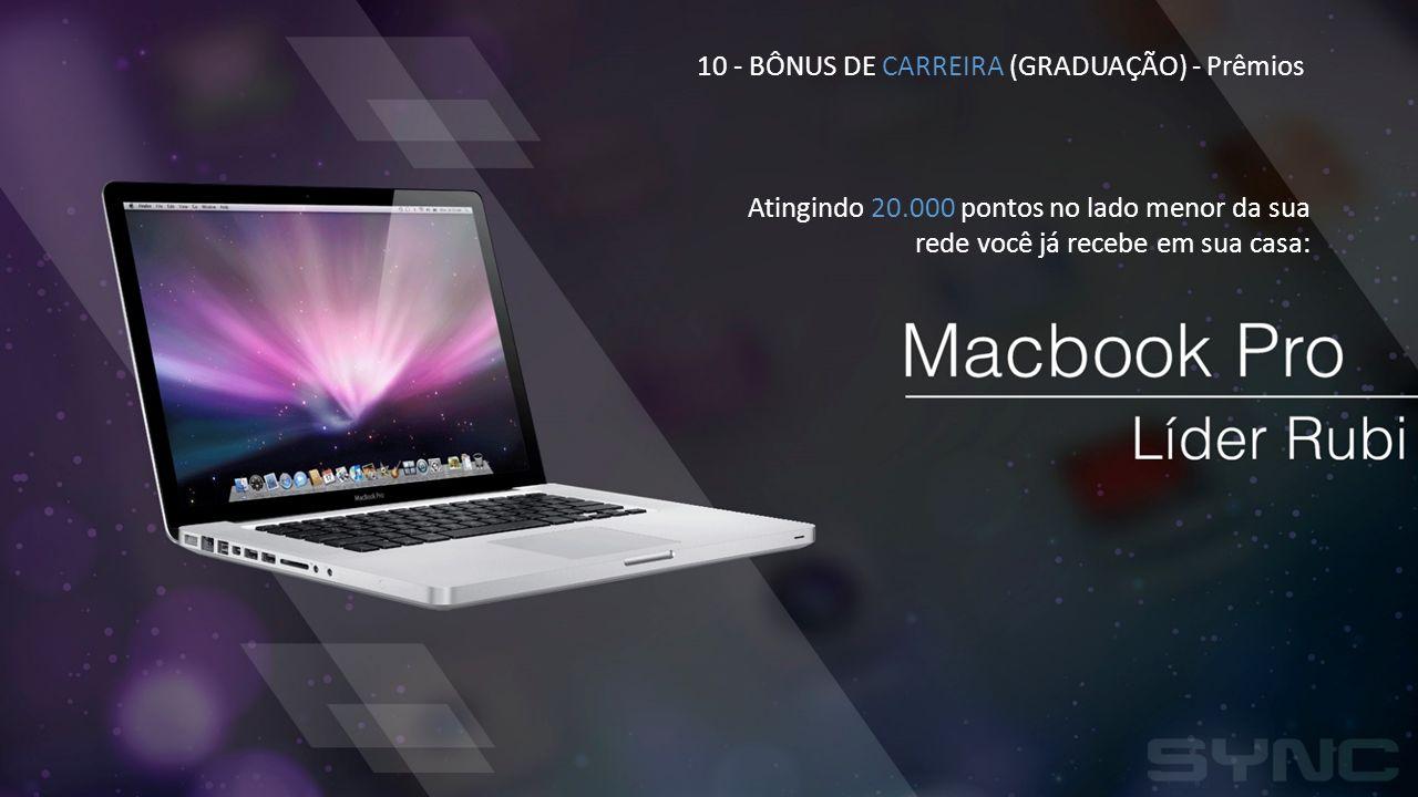 10 - BÔNUS DE CARREIRA (GRADUAÇÃO) - Prêmios Atingindo 20.000 pontos no lado menor da sua rede você já recebe em sua casa: