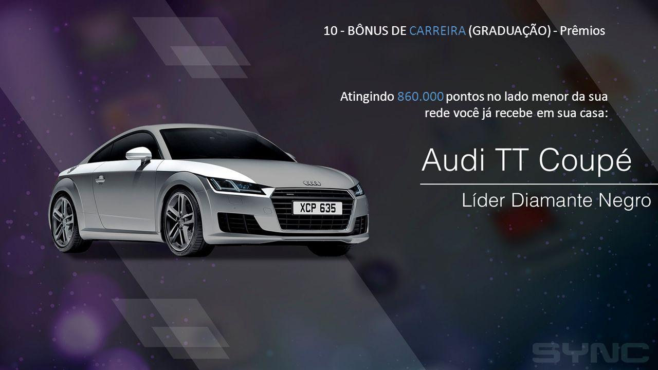 10 - BÔNUS DE CARREIRA (GRADUAÇÃO) - Prêmios Atingindo 860.000 pontos no lado menor da sua rede você já recebe em sua casa: