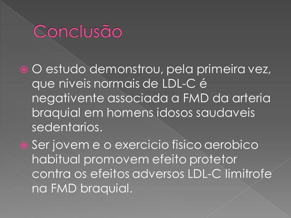  O estudo demonstrou, pela primeira vez, que niveis normais de LDL-C é negativente associada a FMD da arteria braquial em homens idosos saudaveis sedentarios.