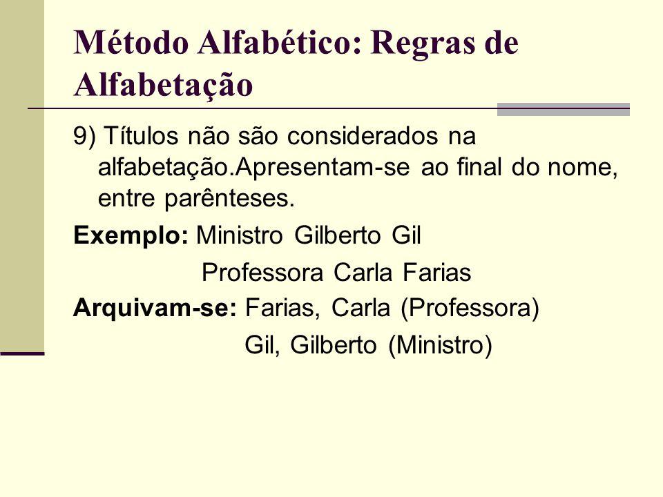 Método Alfabético: Regras de Alfabetação 9) Títulos não são considerados na alfabetação.Apresentam-se ao final do nome, entre parênteses.