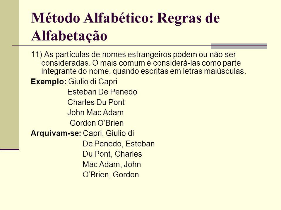Método Alfabético: Regras de Alfabetação 11) As partículas de nomes estrangeiros podem ou não ser consideradas.