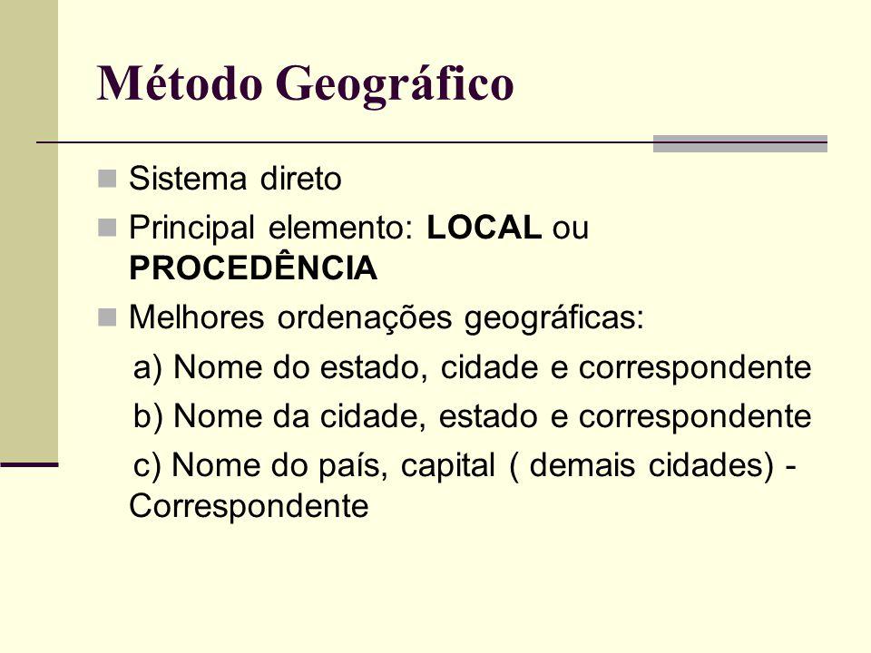 Método Geográfico Sistema direto Principal elemento: LOCAL ou PROCEDÊNCIA Melhores ordenações geográficas: a) Nome do estado, cidade e correspondente b) Nome da cidade, estado e correspondente c) Nome do país, capital ( demais cidades) - Correspondente