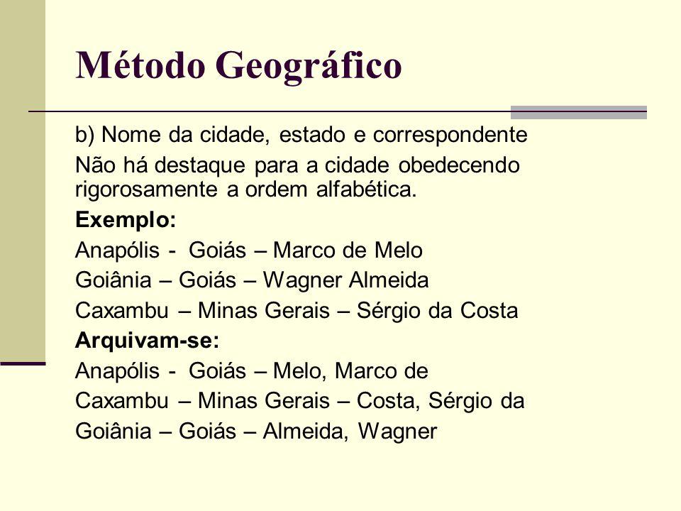 Método Geográfico b) Nome da cidade, estado e correspondente Não há destaque para a cidade obedecendo rigorosamente a ordem alfabética.