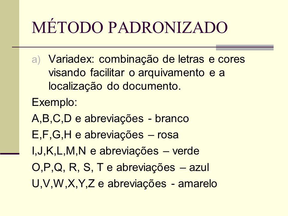 MÉTODO PADRONIZADO a) Variadex: combinação de letras e cores visando facilitar o arquivamento e a localização do documento.