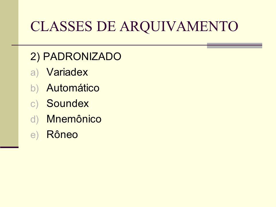 CLASSES DE ARQUIVAMENTO 2) PADRONIZADO a) Variadex b) Automático c) Soundex d) Mnemônico e) Rôneo