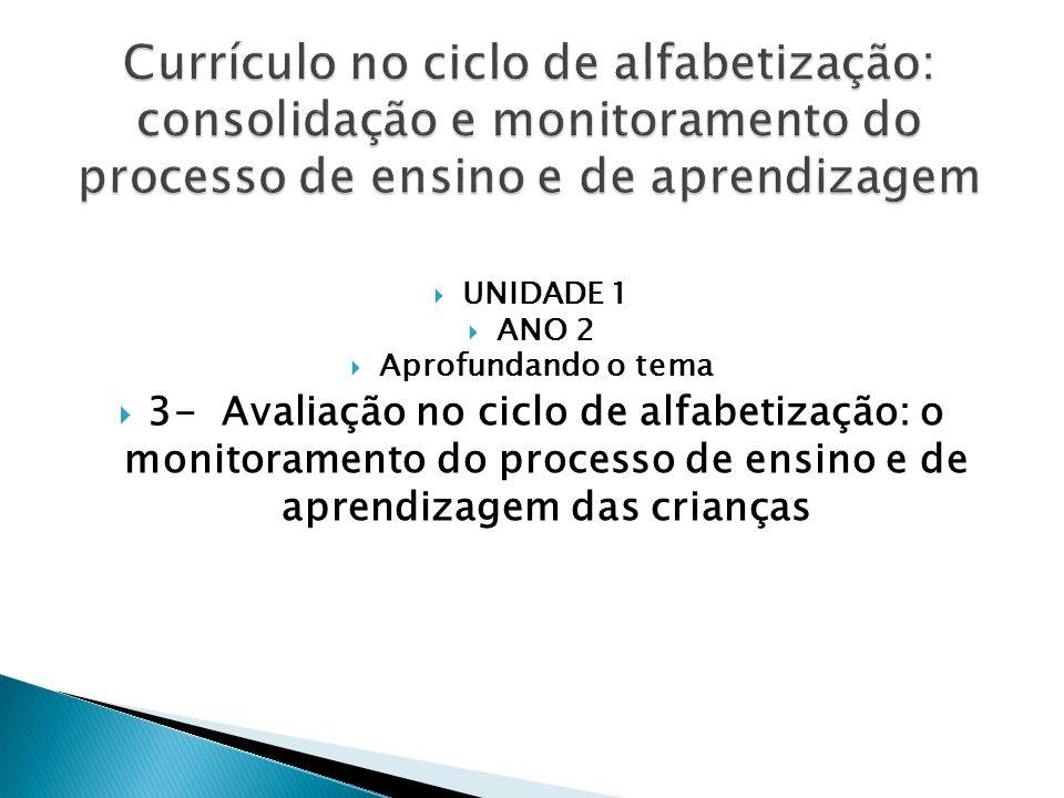  UNIDADE 1  ANO 2  Aprofundando o tema  3- Avaliação no ciclo de alfabetização: o monitoramento do processo de ensino e de aprendizagem das crianças