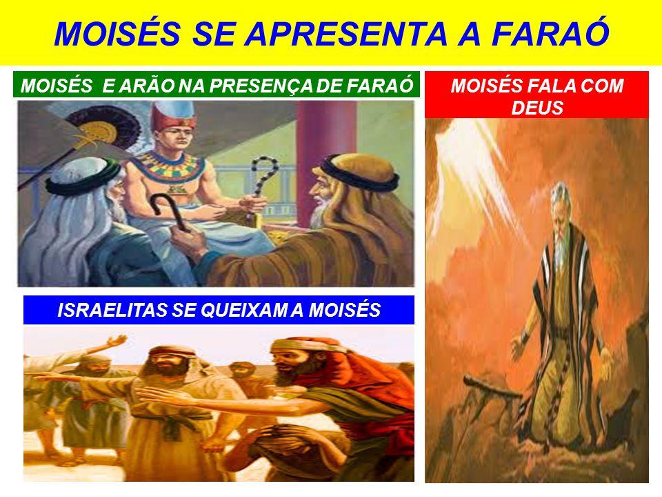 MOISÉS SE APRESENTA A FARAÓ MOISÉS E ARÃO NA PRESENÇA DE FARAÓ ISRAELITAS SE QUEIXAM A MOISÉS MOISÉS FALA COM DEUS