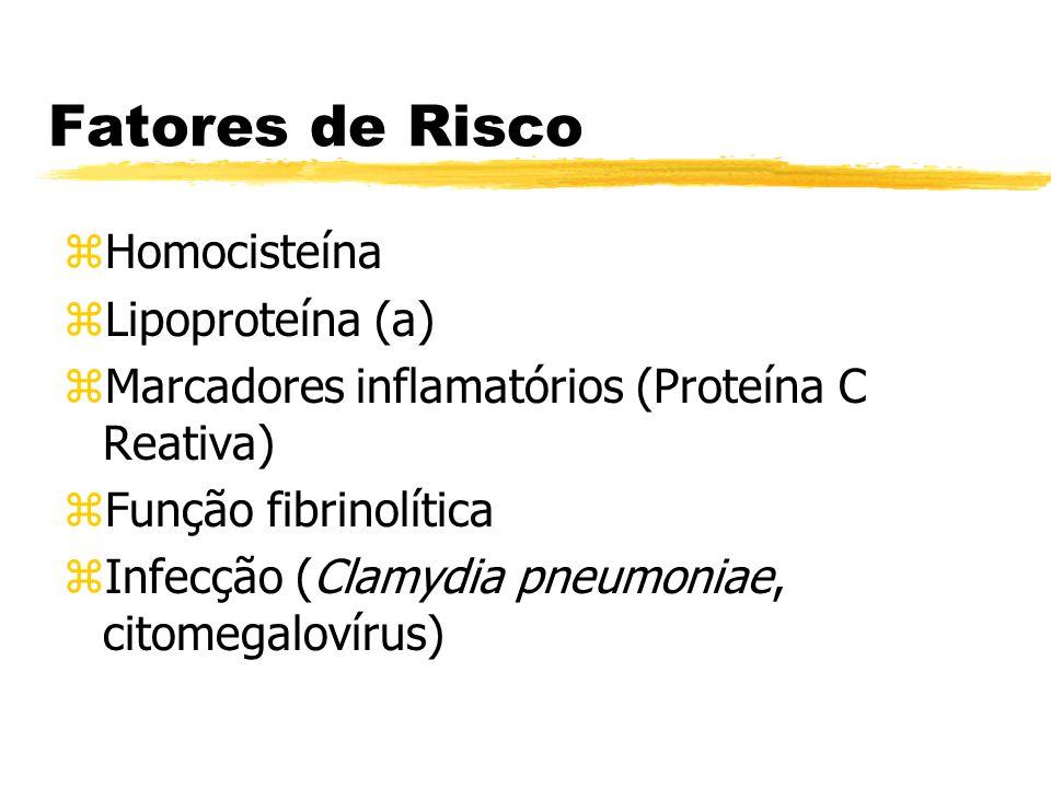 Fatores de Risco zHomocisteína zLipoproteína (a) zMarcadores inflamatórios (Proteína C Reativa) zFunção fibrinolítica zInfecção (Clamydia pneumoniae,