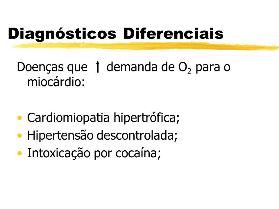 Diagnósticos Diferenciais Doenças que demanda de O 2 para o miocárdio: Cardiomiopatia hipertrófica; Hipertensão descontrolada; Intoxicação por cocaína