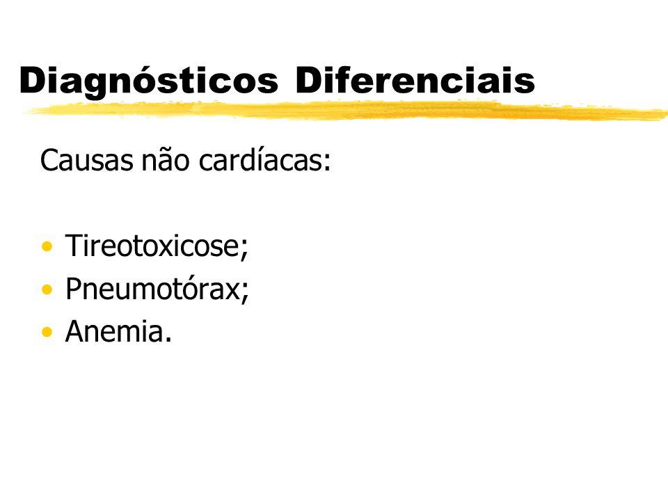 Diagnósticos Diferenciais Causas não cardíacas: Tireotoxicose; Pneumotórax; Anemia.