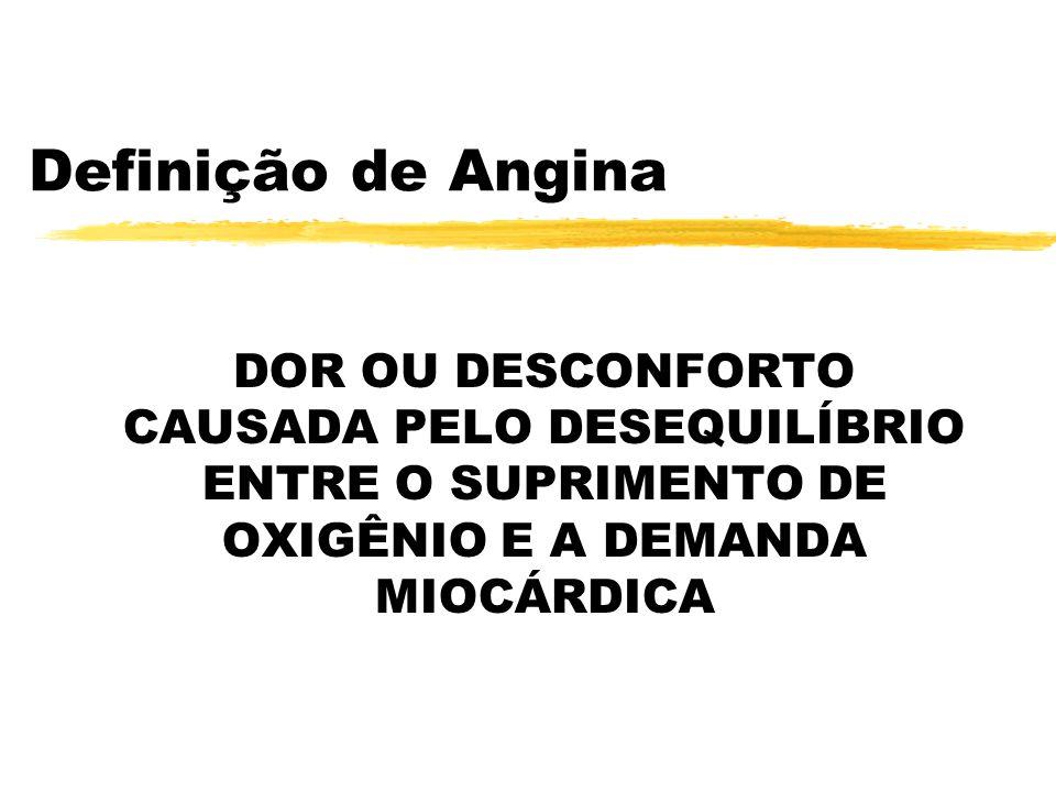 Definição de Angina DOR OU DESCONFORTO CAUSADA PELO DESEQUILÍBRIO ENTRE O SUPRIMENTO DE OXIGÊNIO E A DEMANDA MIOCÁRDICA