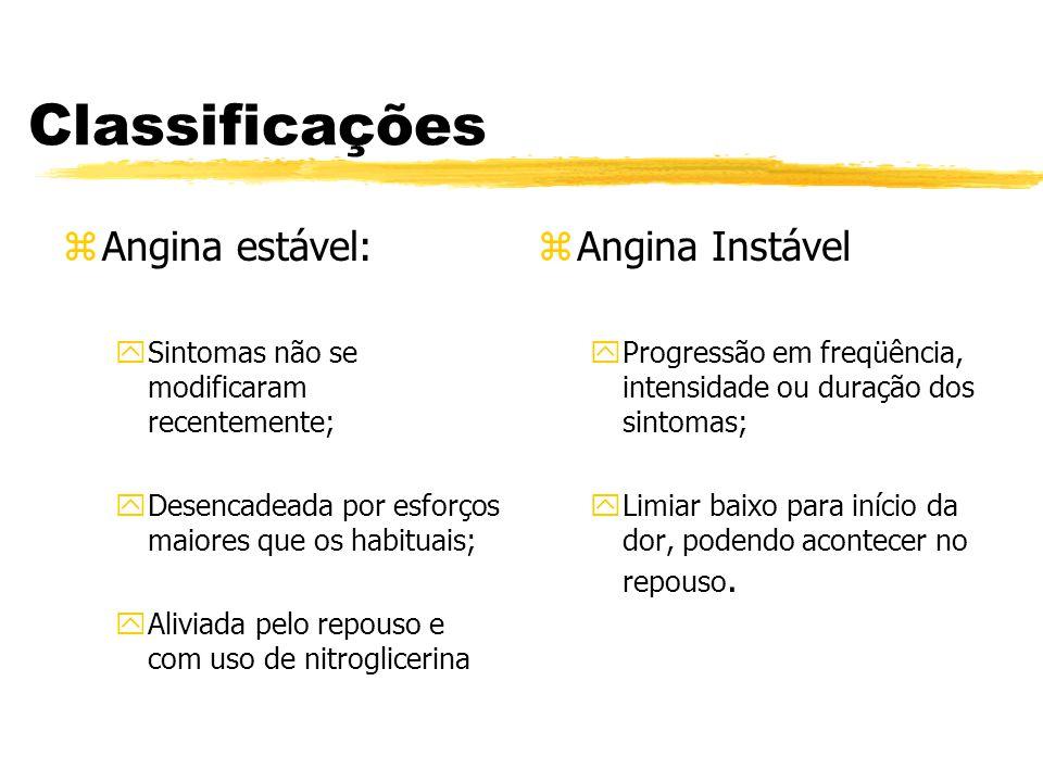 Classificações zAngina estável: ySintomas não se modificaram recentemente; yDesencadeada por esforços maiores que os habituais; yAliviada pelo repouso