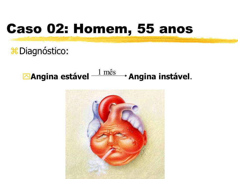 Caso 02: Homem, 55 anos zDiagnóstico: yAngina estável Angina instável. 1 mês