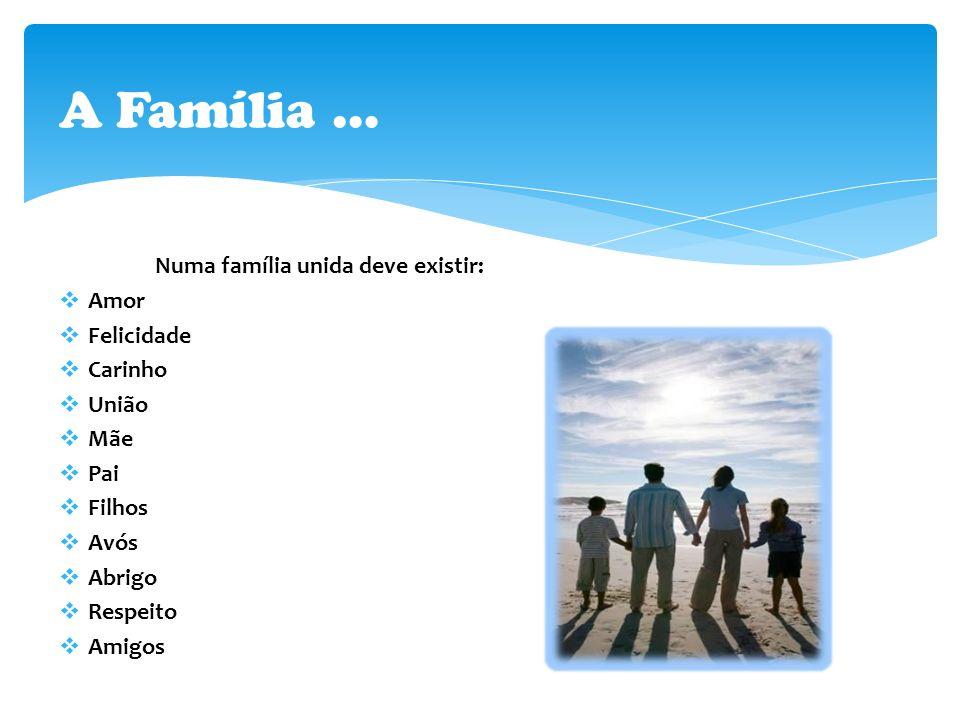 Numa família unida deve existir:  Amor  Felicidade  Carinho  União  Mãe  Pai  Filhos  Avós  Abrigo  Respeito  Amigos A Família …