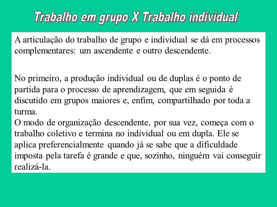A articulação do trabalho de grupo e individual se dá em processos complementares: um ascendente e outro descendente. No primeiro, a produção individu