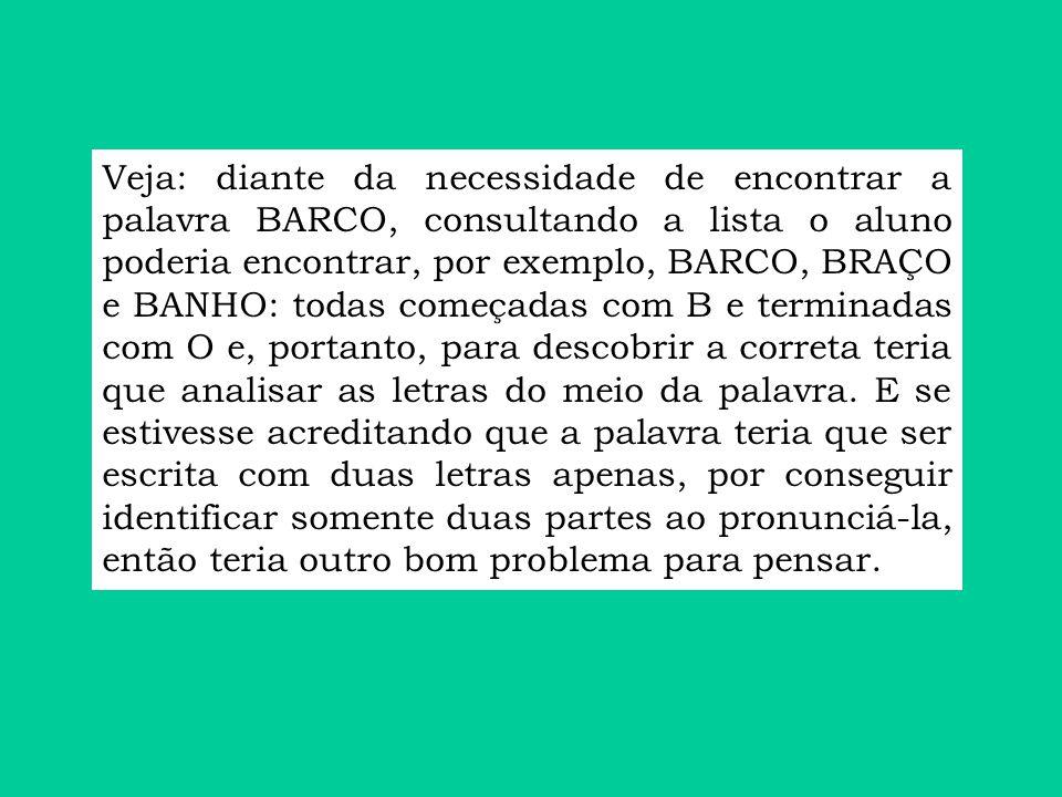 Veja: diante da necessidade de encontrar a palavra BARCO, consultando a lista o aluno poderia encontrar, por exemplo, BARCO, BRAÇO e BANHO: todas come