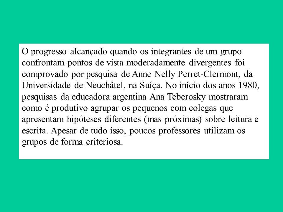 O progresso alcançado quando os integrantes de um grupo confrontam pontos de vista moderadamente divergentes foi comprovado por pesquisa de Anne Nelly