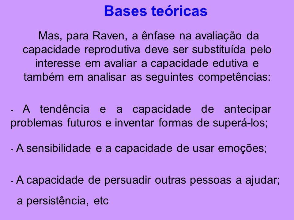 Bases teóricas Mas, para Raven, a ênfase na avaliação da capacidade reprodutiva deve ser substituída pelo interesse em avaliar a capacidade edutiva e também em analisar as seguintes competências: - A tendência e a capacidade de antecipar problemas futuros e inventar formas de superá-los; - A sensibilidade e a capacidade de usar emoções; - A capacidade de persuadir outras pessoas a ajudar; a persistência, etc