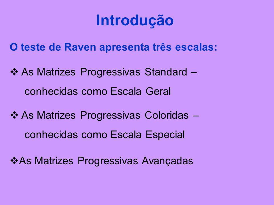 O teste de Raven apresenta três escalas: Introdução  As Matrizes Progressivas Standard – conhecidas como Escala Geral  As Matrizes Progressivas Coloridas – conhecidas como Escala Especial  As Matrizes Progressivas Avançadas