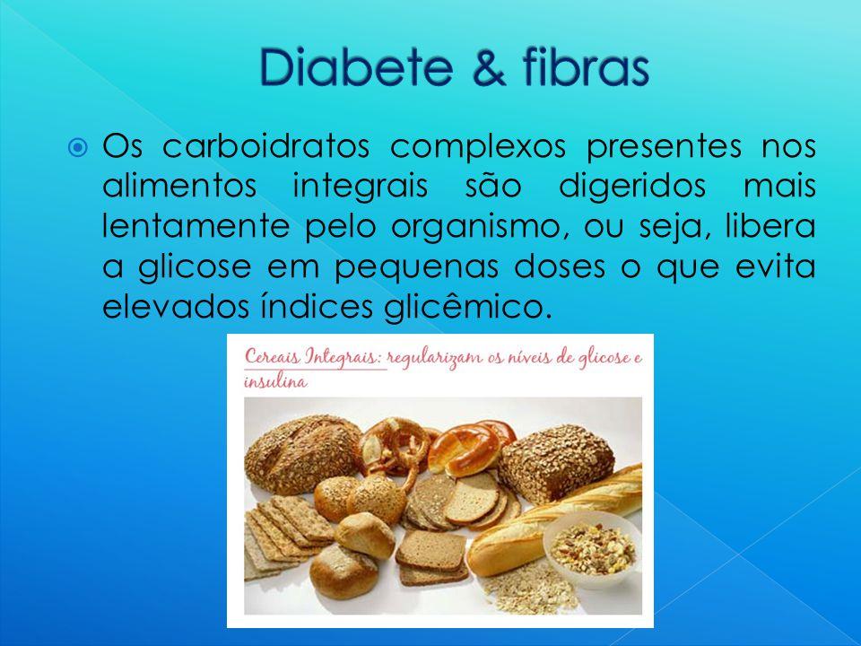  Os carboidratos complexos presentes nos alimentos integrais são digeridos mais lentamente pelo organismo, ou seja, libera a glicose em pequenas doses o que evita elevados índices glicêmico.