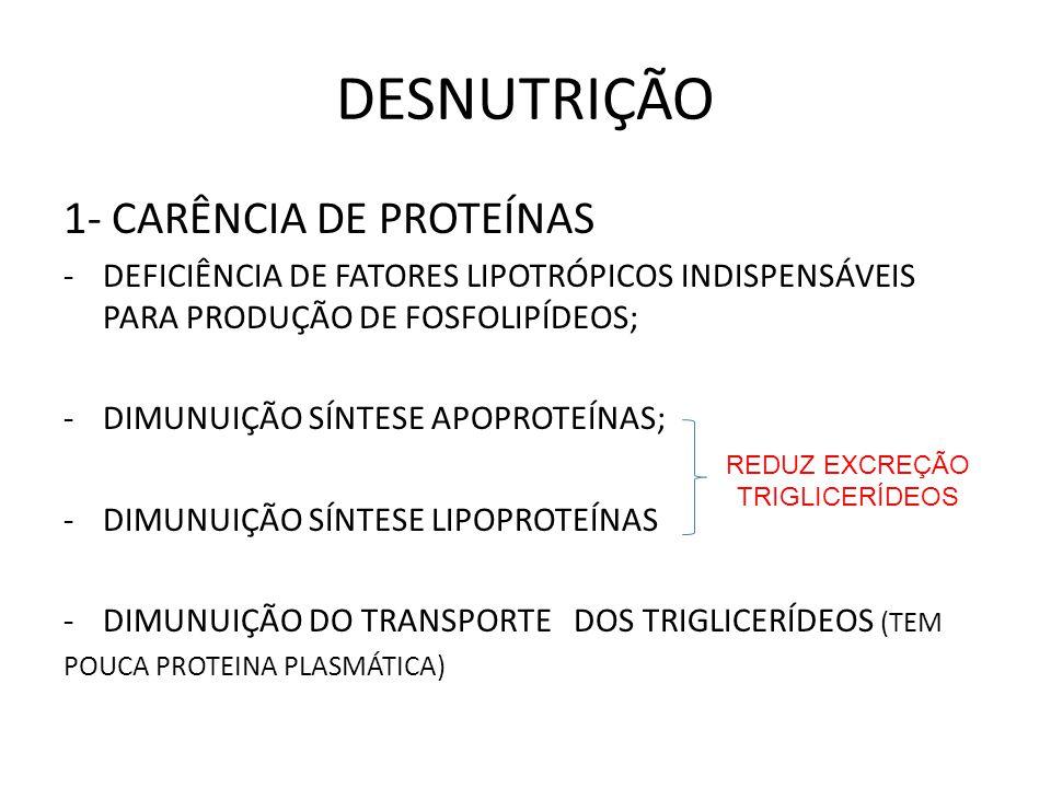 DESNUTRIÇÃO 1- CARÊNCIA DE PROTEÍNAS -DEFICIÊNCIA DE FATORES LIPOTRÓPICOS INDISPENSÁVEIS PARA PRODUÇÃO DE FOSFOLIPÍDEOS; -DIMUNUIÇÃO SÍNTESE APOPROTEÍ