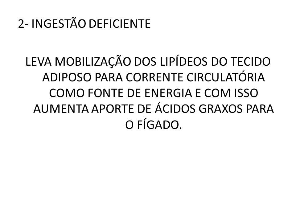 2- INGESTÃO DEFICIENTE LEVA MOBILIZAÇÃO DOS LIPÍDEOS DO TECIDO ADIPOSO PARA CORRENTE CIRCULATÓRIA COMO FONTE DE ENERGIA E COM ISSO AUMENTA APORTE DE Á