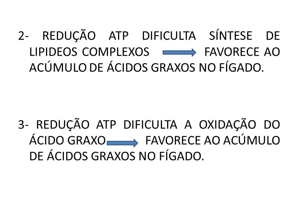 2- REDUÇÃO ATP DIFICULTA SÍNTESE DE LIPIDEOS COMPLEXOS FAVORECE AO ACÚMULO DE ÁCIDOS GRAXOS NO FÍGADO. 3- REDUÇÃO ATP DIFICULTA A OXIDAÇÃO DO ÁCIDO GR